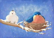 Hanukah Prints - Snow Bird 2 Print by CarrieAnn Reda