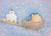Seasons Drawings Posters - Snow Bird Poster by CarrieAnn Reda