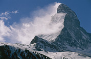 Matterhorn Prints - Snow Blows Off Of The Matterhorn Print by Gordon Wiltsie