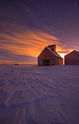 Snowy Night Photos - Snow Bound Barn by Chris  Allington