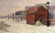 Snowfall Paintings - Snow Butte Montmartre by Paul Signac