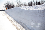 Snowstorm Art - Snow By The Roadside by Ted Kinsman