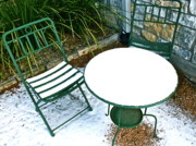 Patio Table And Chairs Posters - Snow Cafe Poster by Mae Photography