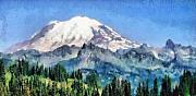 Watercolor  Pastels - Snow Capped Mountain by Russ Harris