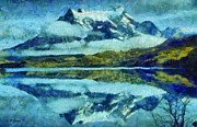 Snow-covered Landscape Painting Posters - Snow Capped Reflection Poster by Elizabeth Coats