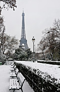 White Prints - Snow Carpets Benches And Eiffel Tower Print by Jade and Bertrand Maitre
