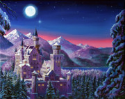 Castles Paintings - Snow Castle by David Lloyd Glover