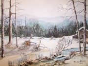 Smoky Mountains Paintings - Snow Covered Barrel by Randy Edwards