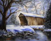 Covered Bridge Painting Metal Prints - Snow Covered Bridge Metal Print by Amy Stanek