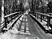 Bw Paintings - Snow Covered Bridge by Daniel Carvalho