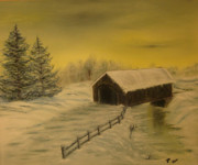Covered Bridge Painting Metal Prints - Snow Covered Bridge Metal Print by Delnora Reed