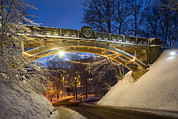 Winter Night Posters - Snow Covered Devil`s Bridge In Winter Poster by Jaak Nilson