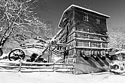 Limestone Quarry Posters - Snow Covered Historic Quarry Building Poster by George Oze