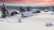 Log Cabin Photos - Snow Covered Log Cabins At Sunset by Rob Kints