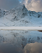 Symmetry Posters - Snow Covered Mountain Reflected In Lake Poster by  Peter Boehi