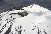 Crater Lake View Framed Prints - Snow-covered Ngauruhoe Cone, Mount Framed Print by Richard Roscoe