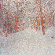 Pointillism Originals - Snow Covered Path  by Catherine Bath