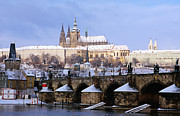 Charles River Art - Snow Covered Prague Castle, Charles Bridge And Suburb Of Mala Strana by Richard Nebesky