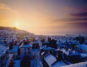 Snowy Evening Posters - Snow Covered Rooftops Of Hastings Poster by Axiom Photographic