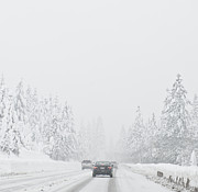 Snow-covered Landscape Photo Prints - Snow-Covered Rural Highway Print by Dave & Les Jacobs
