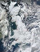 Coldest Prints - Snow-covered United Kingdom, January 2010 Print by Nasagsfc, Modis Rapid Response