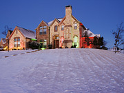 Front Yard Prints - Snow Covered Yard and Stone House Print by Jeremy Woodhouse