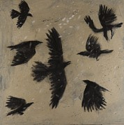 Crows Paintings - Snow Crows by Sophy White
