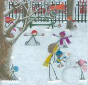 Winter Fun Drawings Prints - Snow Day Print by At Peace Arts By Zakyia Watkins