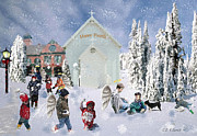 Playing Angels Framed Prints - Snow Day Framed Print by CDK Surrett