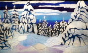 Winter Trees Glass Art - Snow Day by Rick Silas