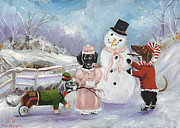 Dog Paintings - Snow Day by Stella Violano