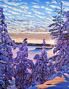 Snowscape Painting Metal Prints - Snow Draped Pines Metal Print by David Lloyd Glover