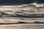 Winter Storm Prints - Snow drift over winter sea ice Print by Antarctica