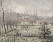 Pissarro; Camille (1830-1903) Framed Prints - Snow Effect at Eragny Framed Print by Camille Pissarro