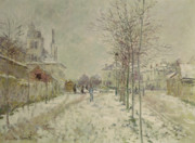 Winter Scene Painting Metal Prints - Snow Effect Metal Print by Claude Monet