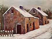 Old Street Pastels Posters - Snow Fall in Ireland Poster by Joyce A Guariglia