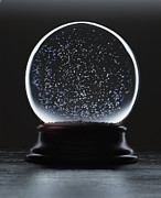 Snow Globe Framed Prints - Snow Falling In Darkly Lit Snowglobe Framed Print by Steve Bronstein