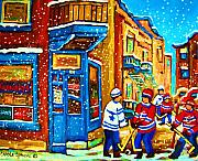 Hockey Art Paintings - Snow Falling On The Game by Carole Spandau