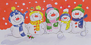 Christmas Snowman Framed Prints - Snow Family Framed Print by Diane Matthes