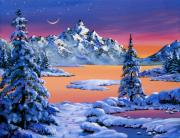 Snowy Trees Painting Posters - Snow Fantasy Poster by David Lloyd Glover