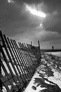 Beach Fence Metal Prints - Snow Fence Metal Print by At Lands End Photography