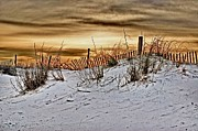 Michael Digital Art Posters - Snow fence on horizon Poster by Michael Thomas