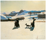 Berkshires Paintings - Snow Fields by Rockwell Kent