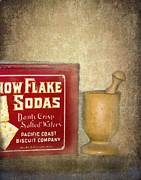 Mortar Posters - Snow Flake Soda Crackers Poster by Betty LaRue