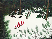 Plant Greeting Cards Painting Prints - Snow Flower Surprise Print by L J Oakes