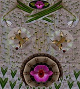 Pearls Mixed Media Posters - Snow Flowers And Orchids In Heavenly Wisdom Poster by Pepita Selles