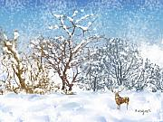 Snow Scene Digital Art Prints - Snow Flurry Print by Arline Wagner