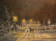 Wisconsin Landscape  Painting Originals - Snow for Christmas by Tom Shropshire
