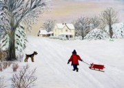 Anke Wheeler Paintings - Snow Fun by Anke Wheeler