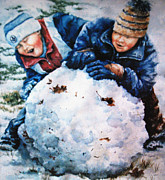 Children Playing Portrait Prints - Snow Fun Print by Hanne Lore Koehler